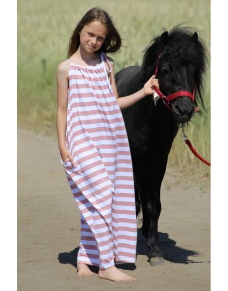 Sukienka maxi w paski różowo- białe