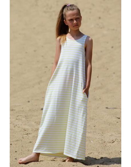 sukienka w paski z kokardą